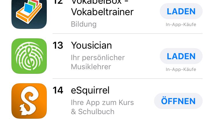 eSquirrel Top 14 in den iOS-Charts