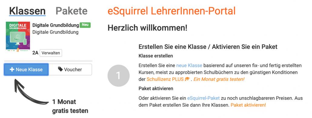 Digitale Grundbilung mit eSquirrel im LehrerInnen-Portal