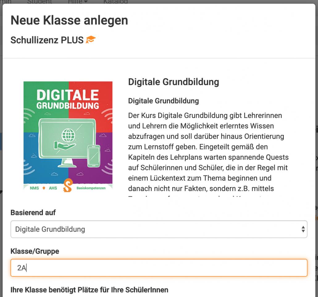 Klasse zur Digitalen Grundbildung erstellen